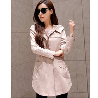 2016 Autumn Casacos Femininos Trenchs Irregularity Trench Coat For Women Fashion Hooded Outerwear Slim Solid Coats C8089