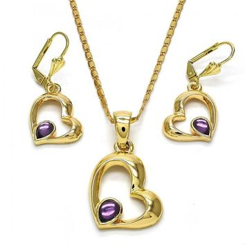 Gold Layered Necklace and Earring, Heart and Teardrop Design, with Crystal, Golden Tone