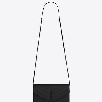 Saint Laurent MONOGRAM SAINT LAURENT Envelope Chain Wallet In Black Grain De Poudre Textured Matelassé Leather | YSL.com