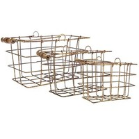 Rustic Rectangle Metal Basket Set with Handles | Shop Hobby Lobby