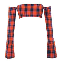 'On Fire' Orange Navy Tartan Off Shoulder Top - Mistress Rocks