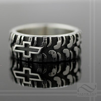 Mens Chevy Tire Tread Ring- Sterling Silver