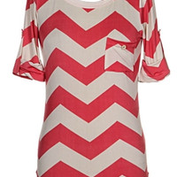 Chevron Top with Pocket - Coral