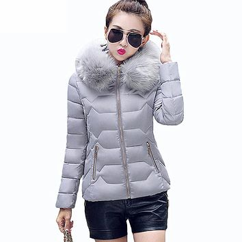 Womens Winter Jackets and Coats Women's Parkas Thick Warm Faux Fur Collar Hooded Anorak Ladies Jacket Female Manteau Femme