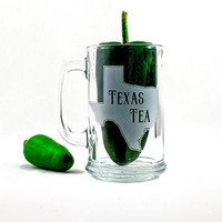 Texas Tea Beer Mug Engraved and Etched Glassware Just for Your Brew