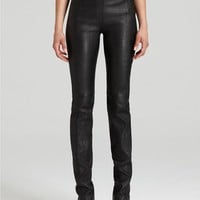 Halston Heritage Skinny Stretch Leather Pants in Black