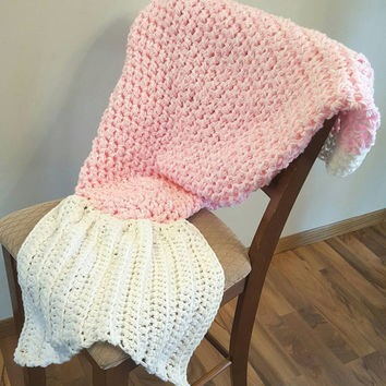 Light pink and soft white, white Mermaid Tail Blanket. Made by Bead Gs on ETSY. Child size. mermaid tail