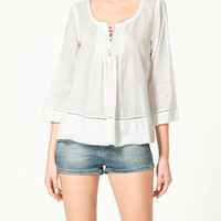 BLOUSE WITH LACE EDGINGS - Shirts - Woman - New collection - ZARA United States