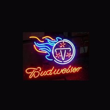 Business NEON SIGN board For  LED Tennessee Titans Football Budweiser REAL GLASS Tube BEER BAR PUB Club Shop Light Signs 17*14""