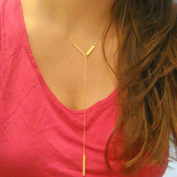 V Shaped Bar Drop Necklace, Simple Bar Layering Necklace, Stick Necklace, 14 Kt Gold-Filled or Sterling Silver Necklace, Celebrity Jewelry