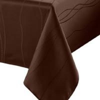 Benson Mills Gourmet Spillproof 70-Inch Round Fabric Tablecloth, Chocolate