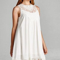 Lace Front Yoke Dress - White