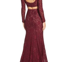 La Femme Embellished Lace Two-Piece Gown | Nordstrom