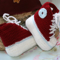 Baby booties Hi Top sneakers Converse style basketball baby booty Crochet boy shoes crochetyknitsnbits claret white blue handmade 0 to 6 mth