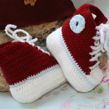 Crochet Baby Booties High Top Converse Style Pattern : Baby booties Hi Top sneakers Converse from ...
