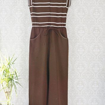 Vintage 1970s Brown Stripe + Polyester Jumpsuit
