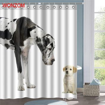 WONZOM Dog Polyester Fabric Elephant Shower Curtain Dolphin Bathroom Decor Waterproof Cortina De Bano With 12 Hooks Gift 2017