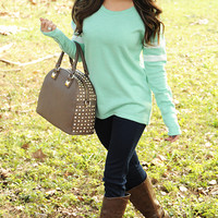Don't Sweater It Top: Mint/White