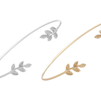 New Fashion Gold and Silver Plated Leaf Bracelet Bangles for Women Simple Leaf Open Cuff Bangles SZ003