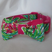 Dog Collar with Bow Made from Lilly Pulitzer Orchid Pink Spike the Punch Fabric: Your Choice