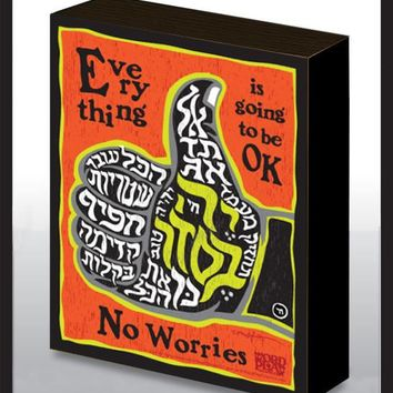 No Worries - Thumbs Up Wood Art Panel