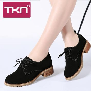 TKN 2017 Autumn Women Oxford Shoes Med Heel Leather Suede Lace Up Round Toe Ladies Spring Shoes Women Casual Footwear 5172