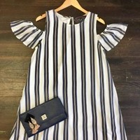 Own the Night Striped Dress: Off White