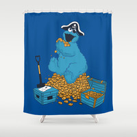 Cookie Monster's Bounty Shower Curtain by Budi Satria Kwan