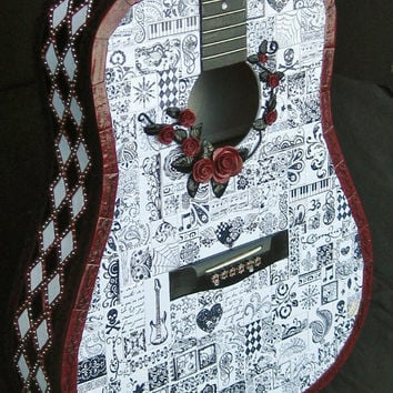 Mixed Media Polymer Clay Mosaic Guitar