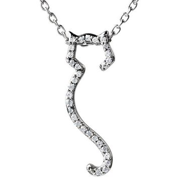 "ASPCA Tender Voices® Sterling Silver 1/10 CTW Diamond Cat Silhouette 18"" Necklace"