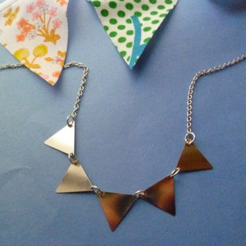 Silver bunting necklace by littlepancakes on Etsy