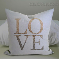 Gatsby Gold Love 302 Pillow Case, Pillow Cover, Custom Pillow Case