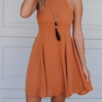 Bodega Bay Caramel Sleeveless Halter Neck Dress