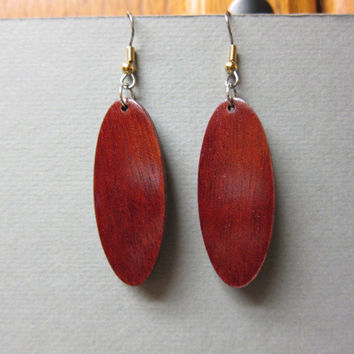 Rare Bloodwood Exotic Wood Dangle Earrings ExoticWoodJewelryAnd handcrafted ecofriendly