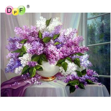 DIY Diamond painting Cross stitch Kit Diamond embroidery lilac 5D Diamond mosaic Needlework Pattern Home Decoration