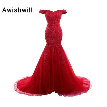 Elegant Off The Shoulder Evening Gowns Long Red Color Appliques Tulle Mermaid Formal Party Dress 2018 New Engagement Dress