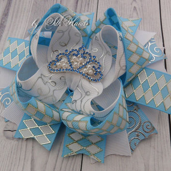 Cinderella Bow Cinderella Party Cinderella rhinestone Bow princess Costume Birthday OTT Over the Top Bow Tiara Bow