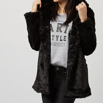 Jumpo Black Faux Fur Hooded Coat