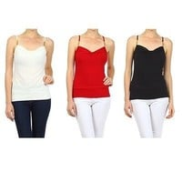 Sexy Sweetheart Neck Fitted Spaghetti Strap Plain Cami Tank Top Jersey Shirt