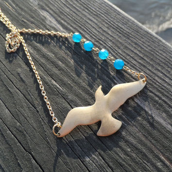 Seagull and Blue Agate Necklace