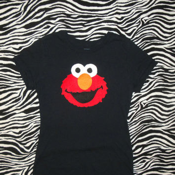 Adult Elmo Inspired Shirt. Womens Elmo Shirt. Juniors Elmo Shirt. Adult Elmo Shirt. Elmo Applique. Adult Sesame Street