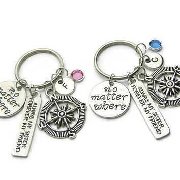 2 Sisters Keychains, Always My Sister Forever My Friend Keychains, No Matter Where Compass Keychains, Sisters Keychains, Personalized