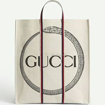 GUCCI 2018 counter female trendy logo design with snake print canvas bag F-AGG-CZDL