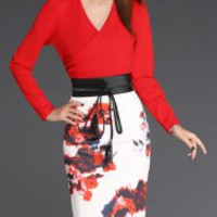 Red V-Neck Long Sleeve Printed Skirt Dress