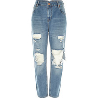 River Island Womens Mid wash ripped slim mom jeans