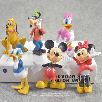 Disney Mickey Mouse Minnie 6pcs/set 10cm Action Figure Posture Anime Decoration Collection Figurine Toy model for children gift