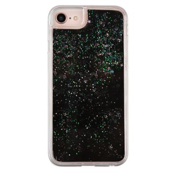 Black Glitter Waterfall iPhone Case