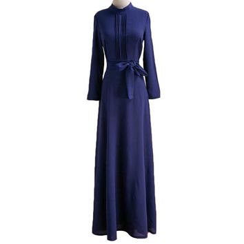 Women Long Sleeve Pleated Maxi Dress O-neck Long Evening Party Dress (Blue)