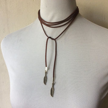 boho long multi-strand wrap choker necklace or bracelet, feather charm in faux suede cord