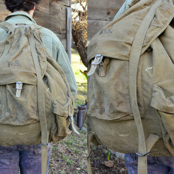 WWII 1941 Meese External Frame Military Canvas and Leather Haversack Backpack Day-pack